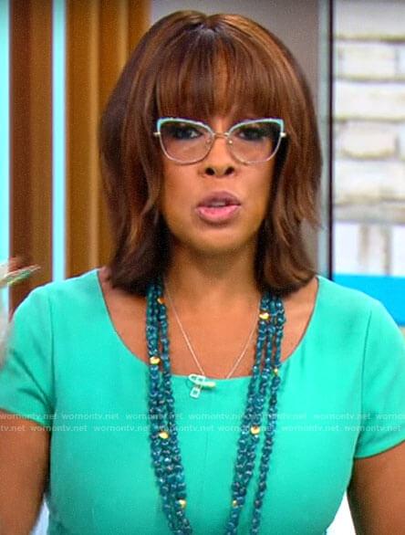 Gayle King's turquoise cat eye glasses on CBS Mornings