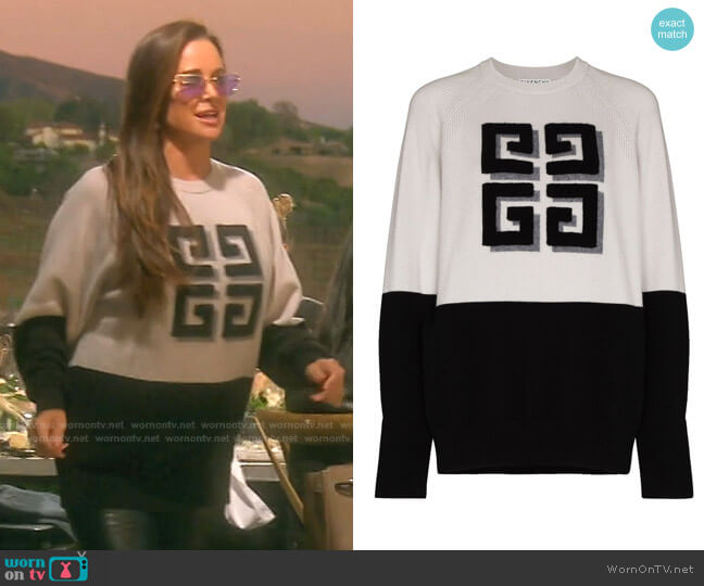 Intarsia Logo Cashmere Jumper by Givenchy worn by Kyle Richards  on The Real Housewives of Beverly Hills