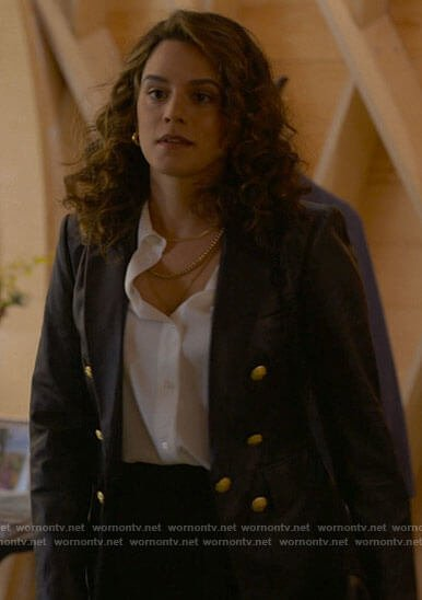 Gigi's leather blazer with gold buttons on The L Word Generation Q
