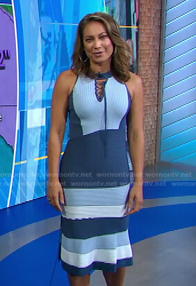 Ginger's blue lace-up midi dress on Good Morning America