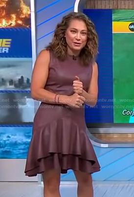 Ginger's brown ruffle hem leather dress on Good Morning America