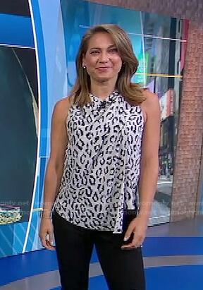 Ginger's white leopard sleeveless top on Good Morning America
