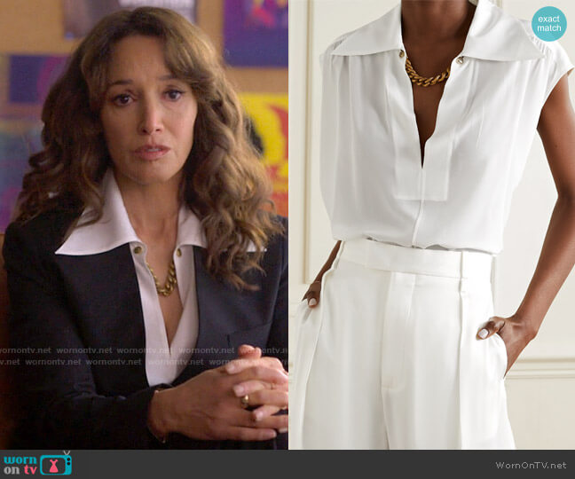 Givenchy Chain-embellished tie-neck silk crepe de chine blouse worn by Bette Porter (Jennifer Beals) on The L Word Generation Q