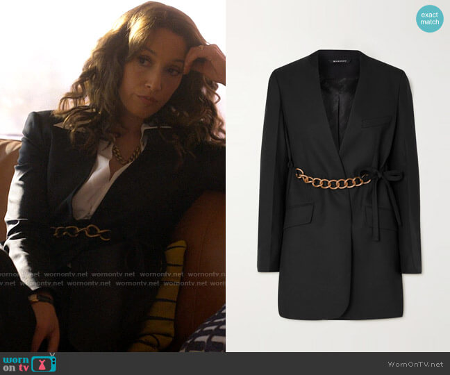 Givenchy Chain-embellished wool wrap blazer worn by Bette Porter (Jennifer Beals) on The L Word Generation Q