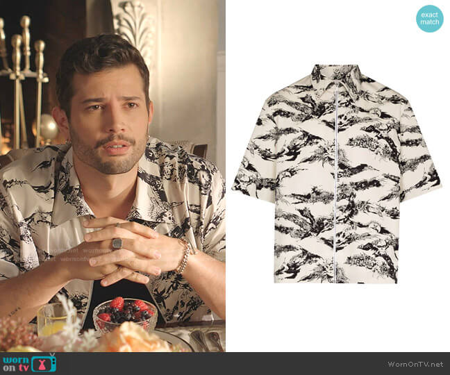 Short-Sleeve Printed Zip-Front Shirt by Givenchy worn by Sam Flores (Rafael de la Fuente) on Dynasty