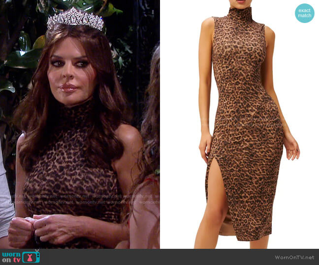 Leopard Print Mock Neck Midi Dress by Good American worn by Lisa Rinna on Days of our Lives: Beyond Salem