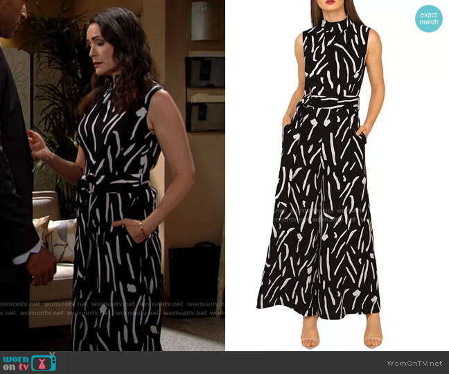 Gracia Wide Leg Jump Print Jumpsuit worn by Quinn Fuller (Rena Sofer) on The Bold & the Beautiful
