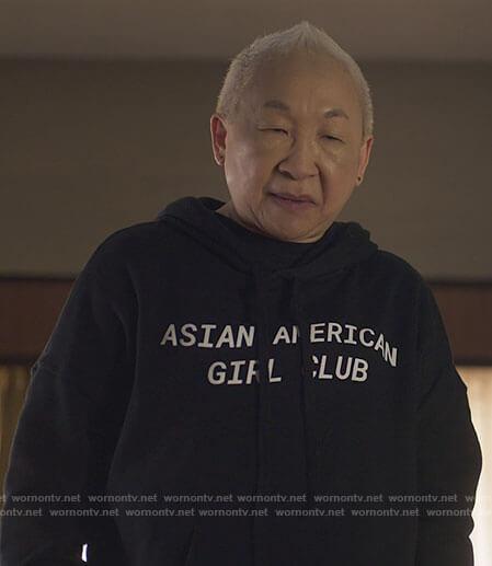 Grandma's Asian American Girl Club hoodie on Awkwafina is Nora From Queens