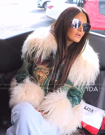 Lisa's green animal embroidered fur trim jacket on The Real Housewives of Salt Lake City