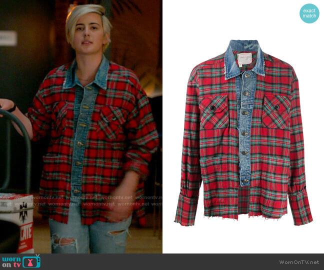 Greg Lauren checked denim shirt worn by Sarah Finley (Jacqueline Toboni) on The L Word Generation Q
