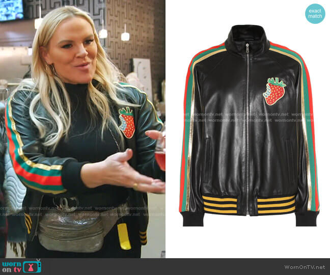 Leather Bomber Jacket with Gucci Strawberry by Gucci worn by Heather Gay  on The Real Housewives of Salt Lake City