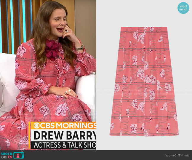 Gucci Floral print silk skirt worn by Drew Barrymore on CBS Mornings