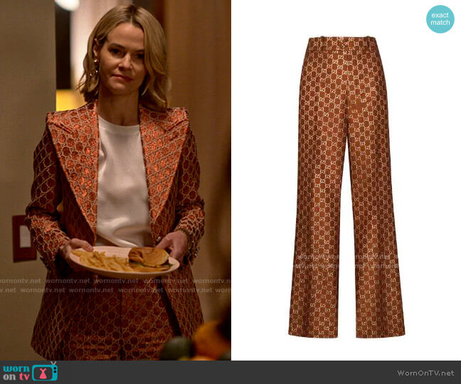 Gucci GG jacquard flared trousers worn by Alice Pieszecki (Leisha Hailey) on The L Word Generation Q