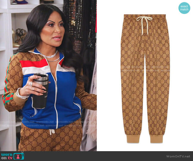 GG Technical Jersey Jogging Pant by Gucci worn by Jen Shah  on The Real Housewives of Salt Lake City