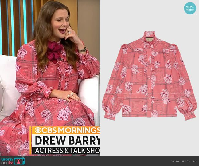 Gucci Silk ruffle shirt with floral print worn by Drew Barrymore on CBS Mornings
