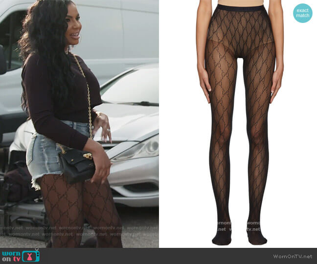 Black GG Tights by Gucci worn by Mia Thornton  on The Real Housewives of Potomac