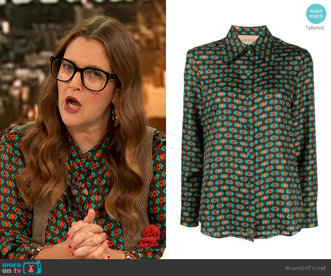 Geometric pattern silk Blouse by Gucci worn by Drew Barrymore  on The Drew Barrymore Show