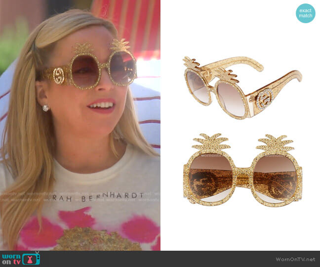 Pineapple Sunglasses by Gucci worn by Sutton Stracke  on The Real Housewives of Beverly Hills
