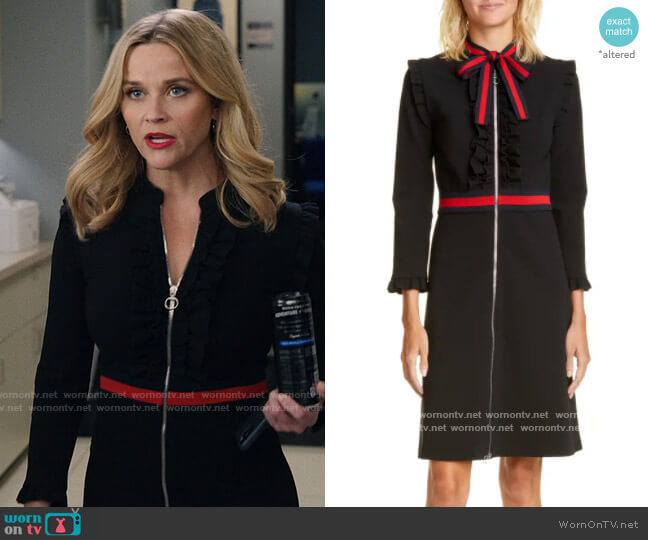 Gucci Ruffle Tie Neck Dress worn by Bradley Jackson (Reese Witherspoon) on The Morning Show