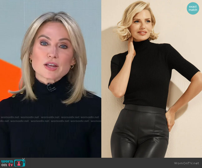 Dalia Sweater Top by Guess worn by Amy Robach  on Good Morning America
