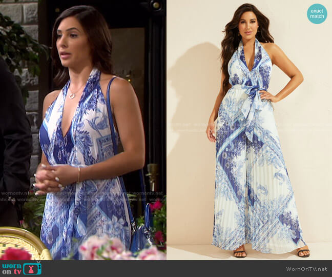 Forever Pleated Jumpsuit by Guess worn by Gabi Hernandez (Camila Banus) on Days of our Lives