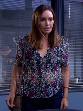 Gwen's floral ruffle top on Days of our Lives