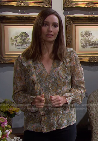 Gwen's floral ruffled blouse on Days of our Lives