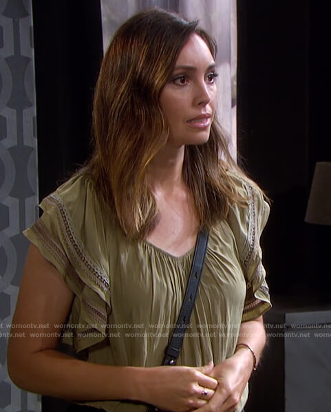 Gwen's green ruffle sleeve top on Days of Our Lives