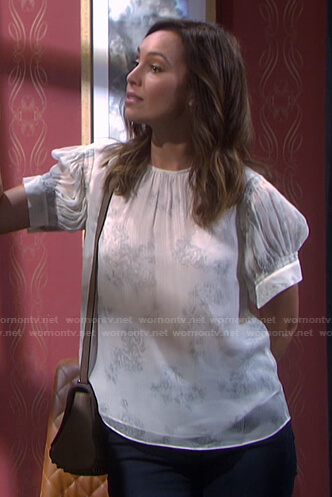 Gwen's white floral top on Days of our Lives