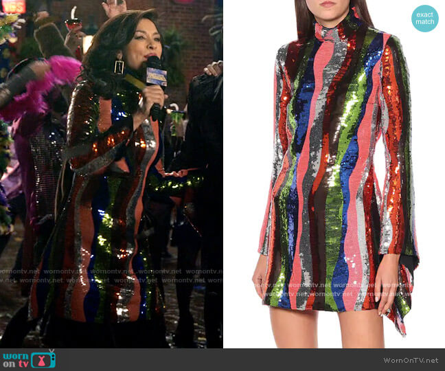 Halpern Striped sequined satin mini dress worn by Alison Namazi (Janina Gavankar) on The Morning Show