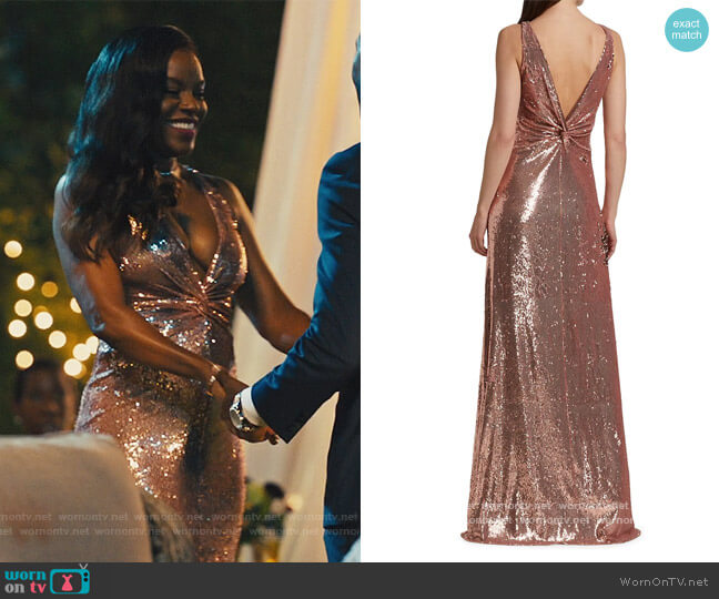 Madden Metallic Sequin Twist-Back Gown by Halston worn by Leah Franklin-Dupont (Nadine Ellis) on Our Kind of People