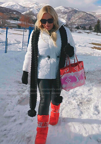 Heather's red snow boots and tie dye tote bag on The Real Housewives of Salt Lake City