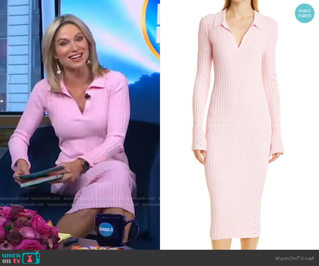 Long Sleeve Slash Dress by Helmut Lang worn by Amy Robach  on Good Morning America