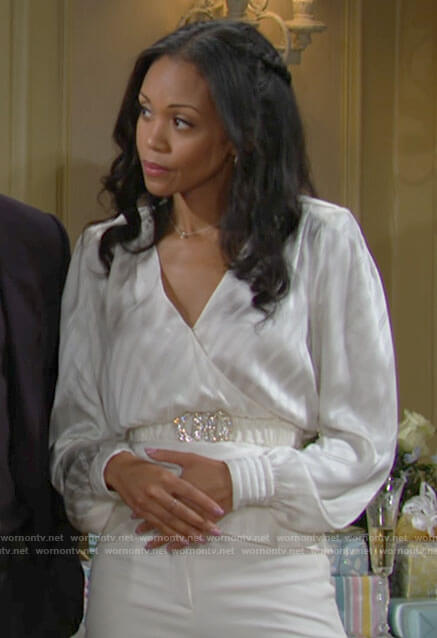 Amanda's white striped wrap top on The Young and the Restless