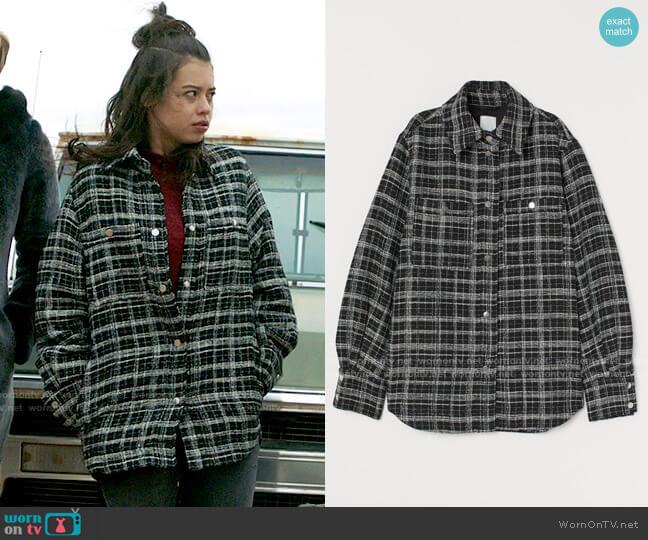 H&M Jacquard-weave Shirt Jacket worn by Rosa Ortecho (Amber Midthunder) on Roswell New Mexico