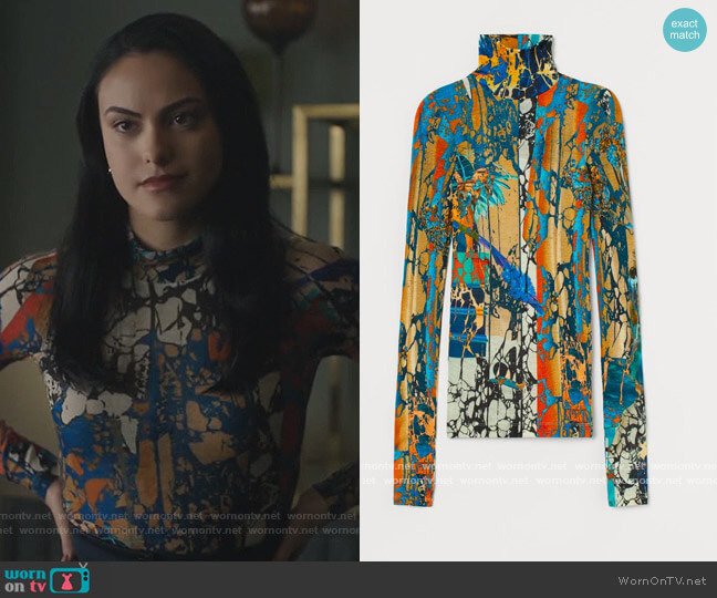 Wool Jersey Turtleneck Top by H&M worn by Veronica Lodge (Camila Mendes) on Riverdale
