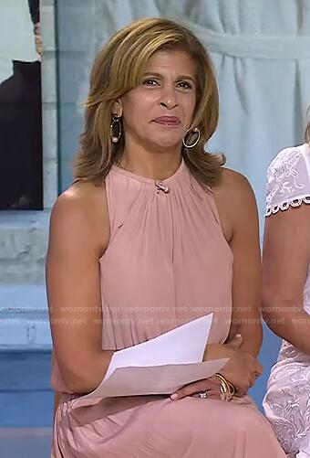 Hoda's pink beige halter midi dress on Today