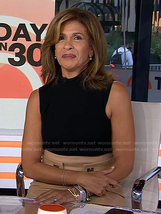 Hoda's black top and beige skirt on Today