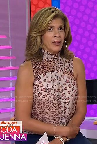 Hoda's leopard sleeveless top on Today
