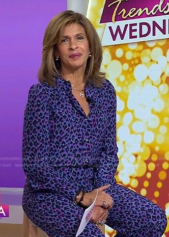 Hoda's purple leopard shirt and pants on Today