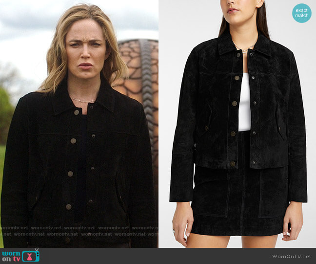 Simons Icone Flap-pocket suede jacket worn by Sara Lance (Caity Lotz) on Legends of Tomorrow