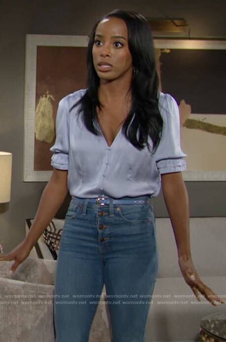 Imani's light blue v-neck top and jeans on The Young and the Restless