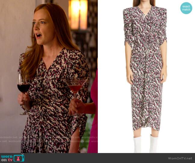Isabel Marant Print Ruched Ruffle Stretch Silk Midi Dress worn by Natalie Bailey (Stephanie Allynne) on The L Word Generation Q