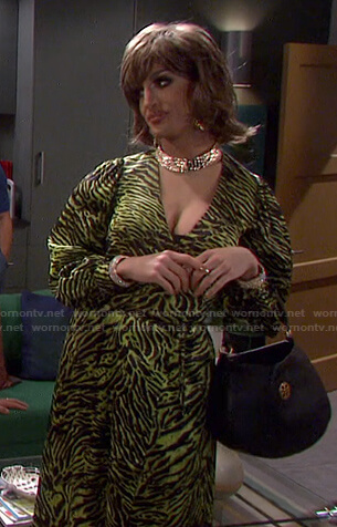 Jackie Cox's green animal print wrap dress on Days of our Lives: Beyond Salem