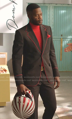 Jeff's black blazer with red piping on Dynasty