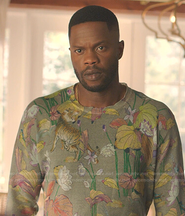 Jeff's green tiger and flower print sweater on Dynasty