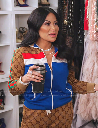 Jen's GG print colorblock track jacket and pants on The Real Housewives of Salt Lake City
