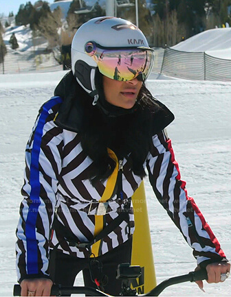 Jen's black and white striped skit jacket on The Real Housewives of Salt Lake City