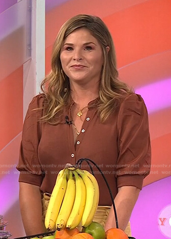 Jenna's brown button down top and yellow cropped pants on Today