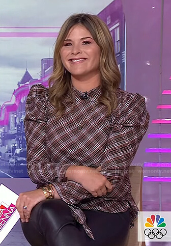 Jenna's brown plaid puff sleeve top on Today